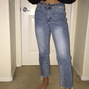Mid rise slim straight jeans